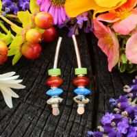 Silver and gemstone earrings, Arc multi-coloured, lapis, carnelian earrings, medium size 6A